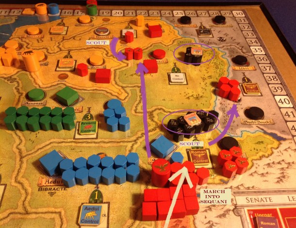 Caesar uses Roman Eligibility (initiative) to launch a new northern campaign. He pauses his March along the way to Scout out the Germanic hordes and push a force of horsemen across the Rhenus.