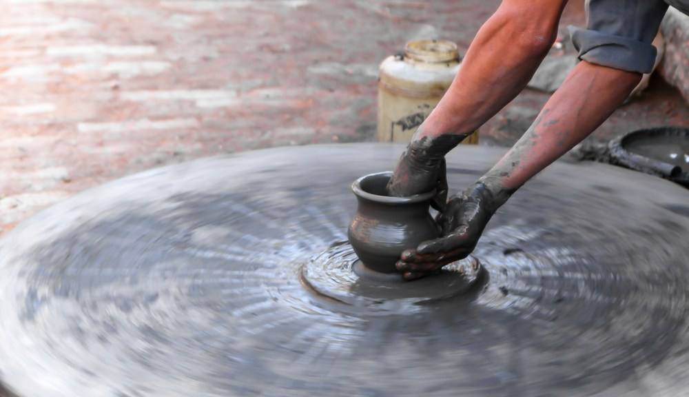 handmade pottery from Alewine pottery at the Old Mill in Pigeon Forge
