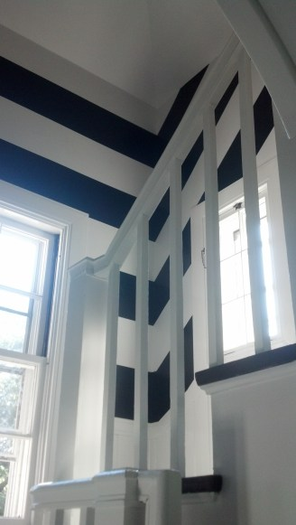 painting stripes on a stairwell | MA | RI