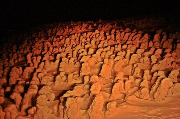 Zao Snow Monsters stretching over hill, Yamagata, Tohoku, Japan