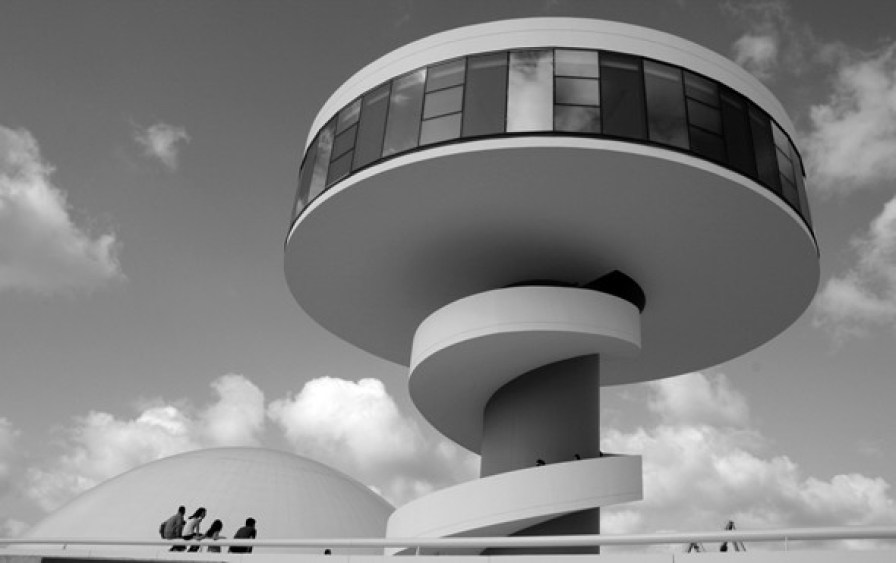 Oscar Niemeyer Asturias Restaurant with people