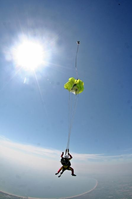 Parachute opening during a skydive