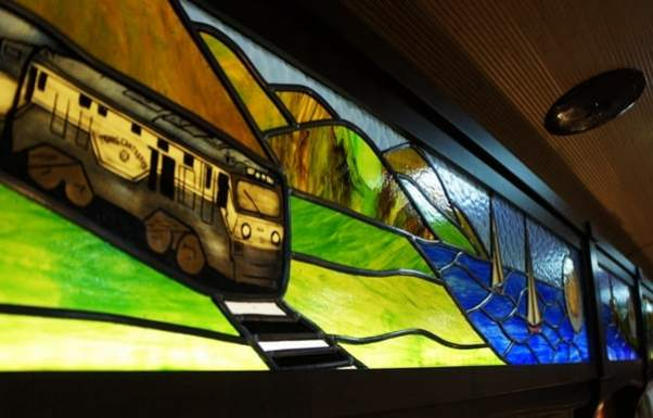 Transcantabrico train in stained glass