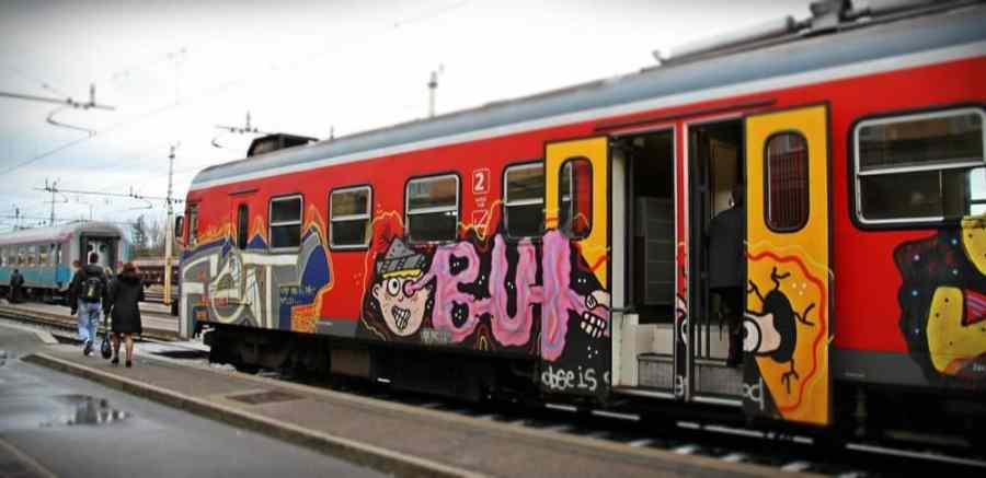 Train at Sezana station between Trieste and Ljubljana