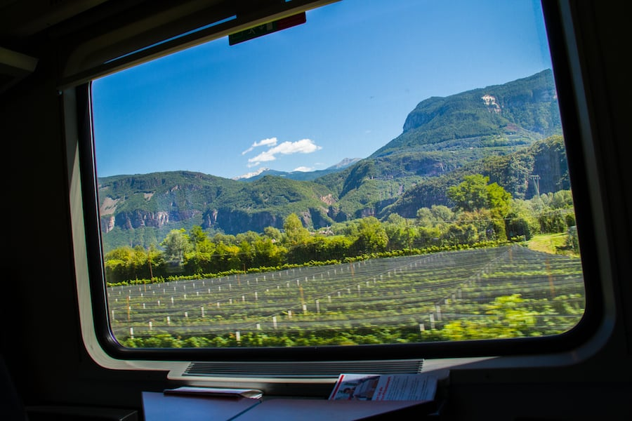 View from Train crossing Italy and Austria