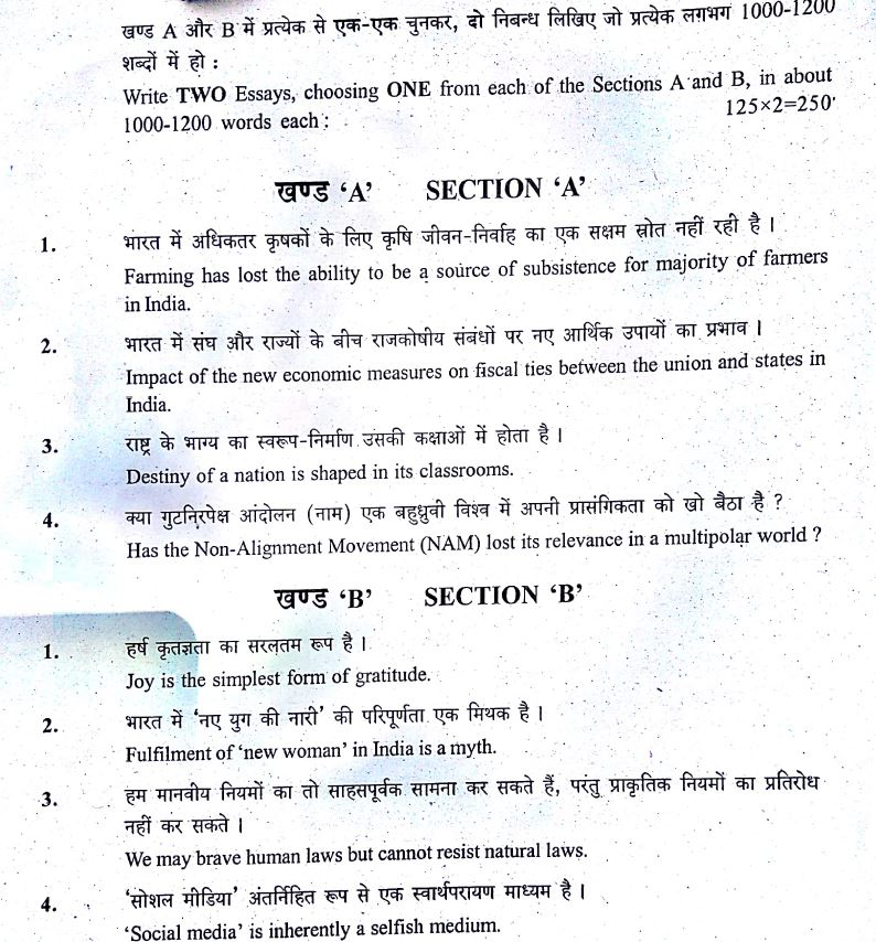 UPSC Civil Services MAINS Exam 2017 Essay Question Paper - INSIGHTS