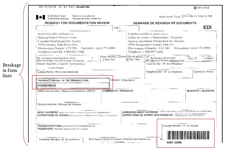 Procedures for Faxing Documents to the National Import Service - fax examples