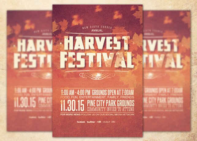 Harvest Festival Church Flyer Template Inspiks Market - fall festival flyer ideas