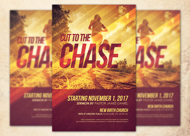 Cut to the Chase Church Flyer Template Inspiks Market