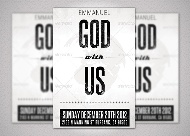 Emmanuel Christmas Church Flyer Template Inspiks Market - black and white flyer template
