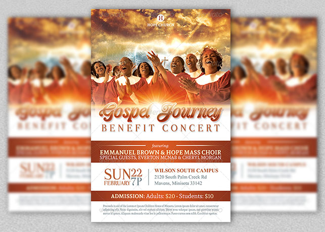 Gospel Benefit Concert Church Flyer Template Inspiks Market - benefit flyer template