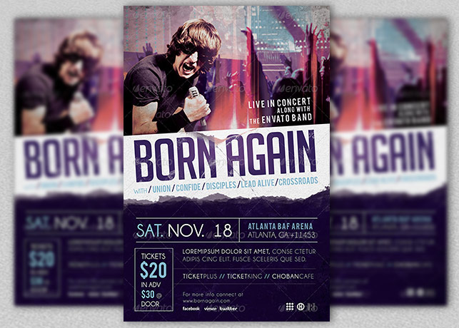 Gospel Rock Band Concert Flyer Template Inspiks Market - music flyer template