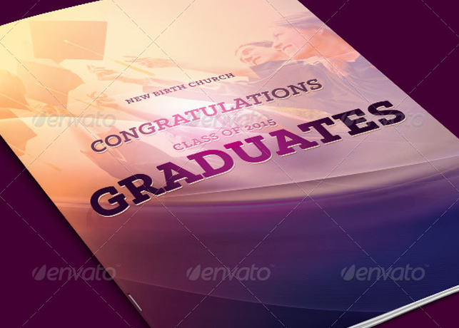 Graduates Celebration Church Program Template Inspiks Market - graduation program covers