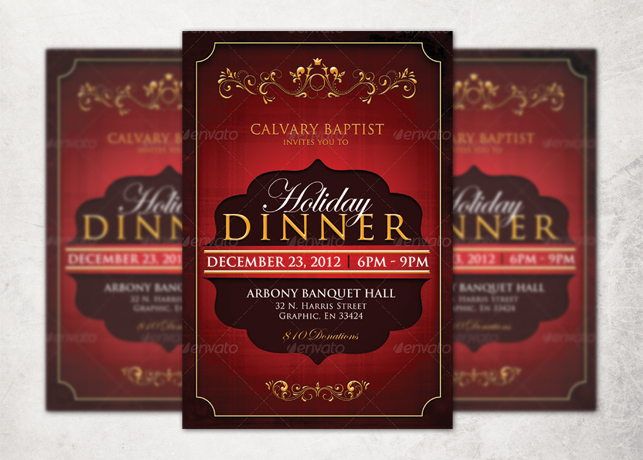 Holiday Dinner Church Flyer Template Inspiks Market - Dinner Flyer