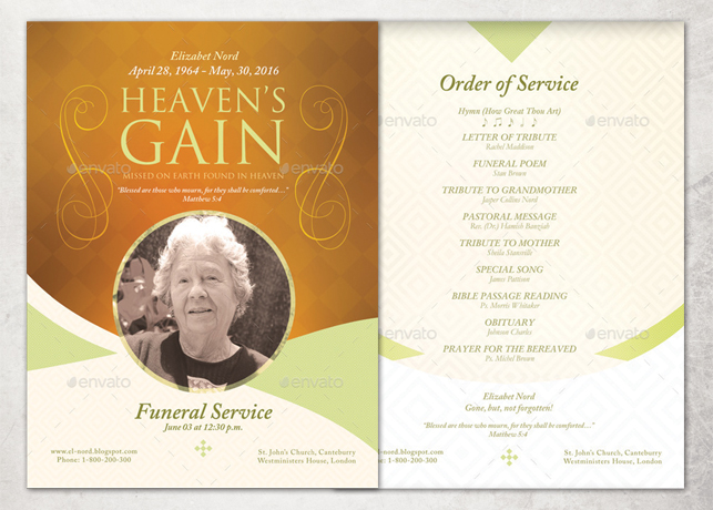 Heaven\u0027s Gain Single Sheet Funeral Program Template Inspiks Market - memorial program