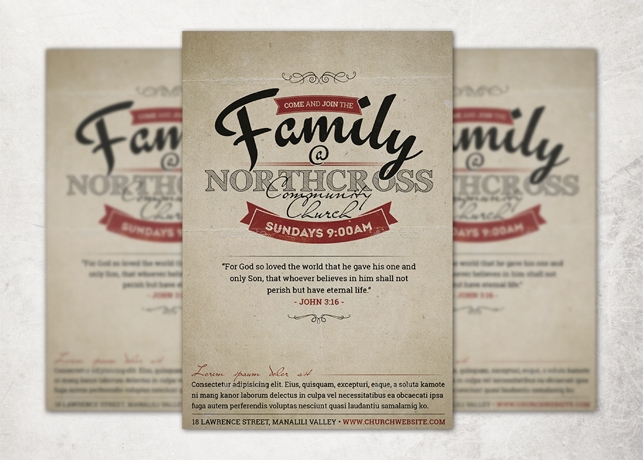 Vintage Church Invite Flyer Template Inspiks Market - invitation flyer template