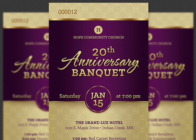 Church Anniversary Banquet Ticket Template Inspiks Market - Ball Ticket Template