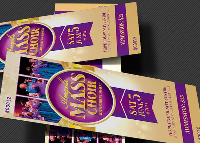 Mass Choir Concert Ticket Template Inspiks Market - Concert Ticket Templates