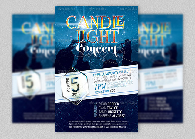 Candle Light Concert Flyer Template Inspiks Market