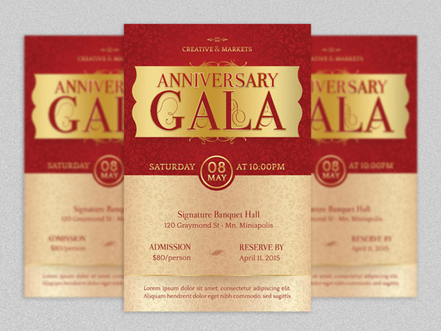 Anniversary Gala Flyer Template Inspiks Market - Ball Ticket Template