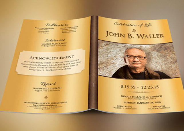Solid Gold Funeral Program Template Inspiks Market - funeral program background