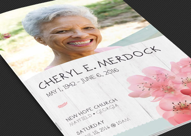 Magnolia Funeral Program Template - Photoshop Inspiks Market