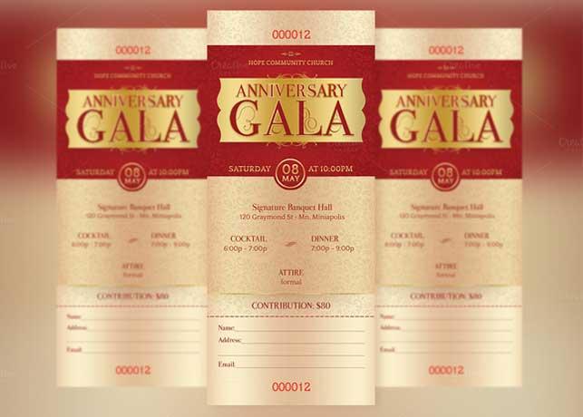Anniversary Gala Ticket Template Inspiks Market