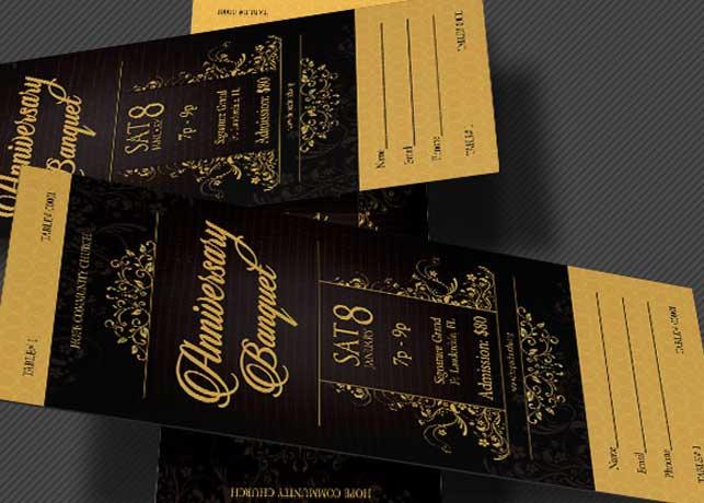 Golden Anniversary Banquet Ticket Template Inspiks Market - banquet ticket template