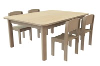 Small Rectangular Table & 4 Beech Stacking Chairs ...