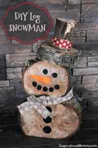 DIY Log Snowman