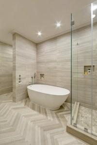 High ceiling & herringbone tile floors by Artistic Tile on ...