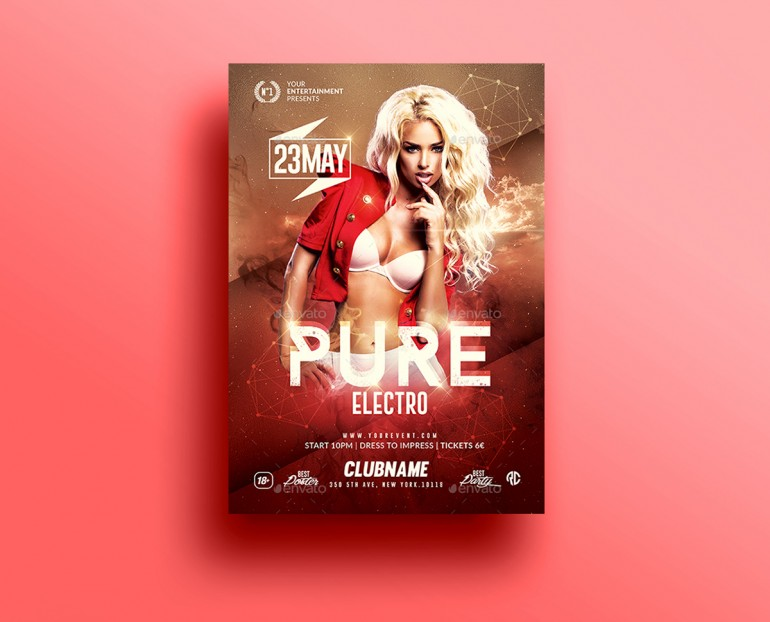 Pure Electro Flyer Psd Template v2 Creative Design perfect to - electro flyer