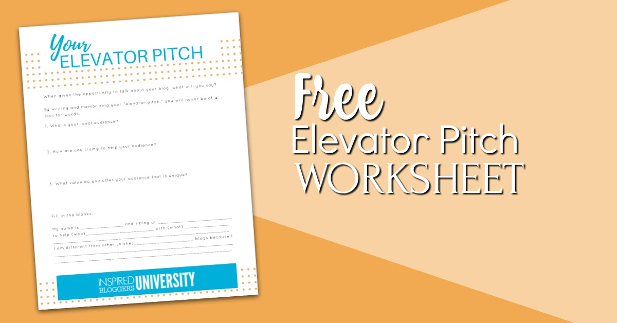 How to Write an Elevator Pitch - Inspired Bloggers University -