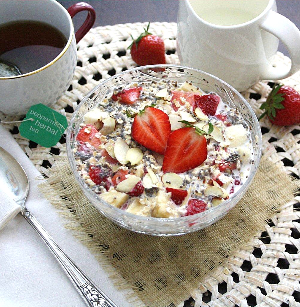 strawberry chia overnight oats vegan gluten free. Black Bedroom Furniture Sets. Home Design Ideas