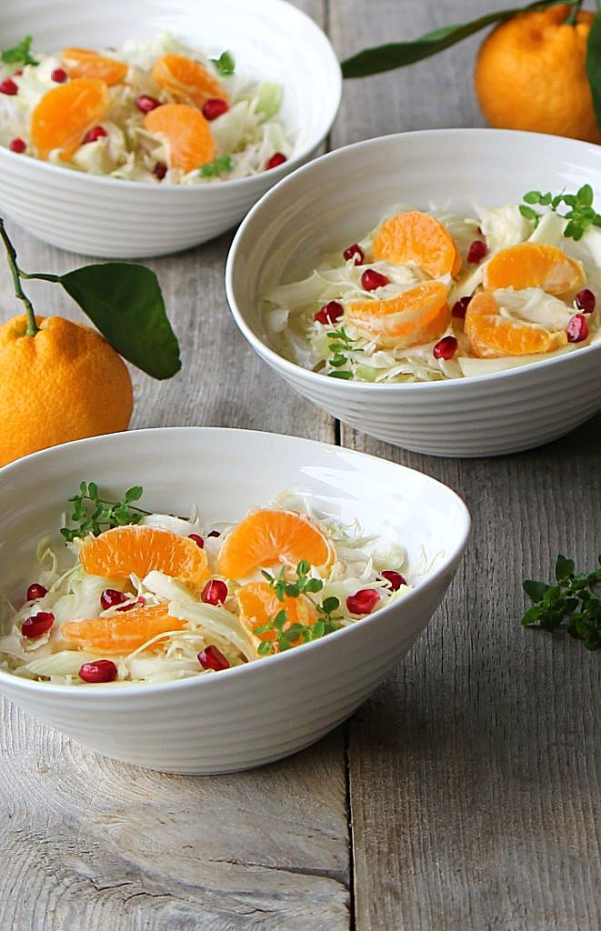 winter white salad with mandarin and pomegranate