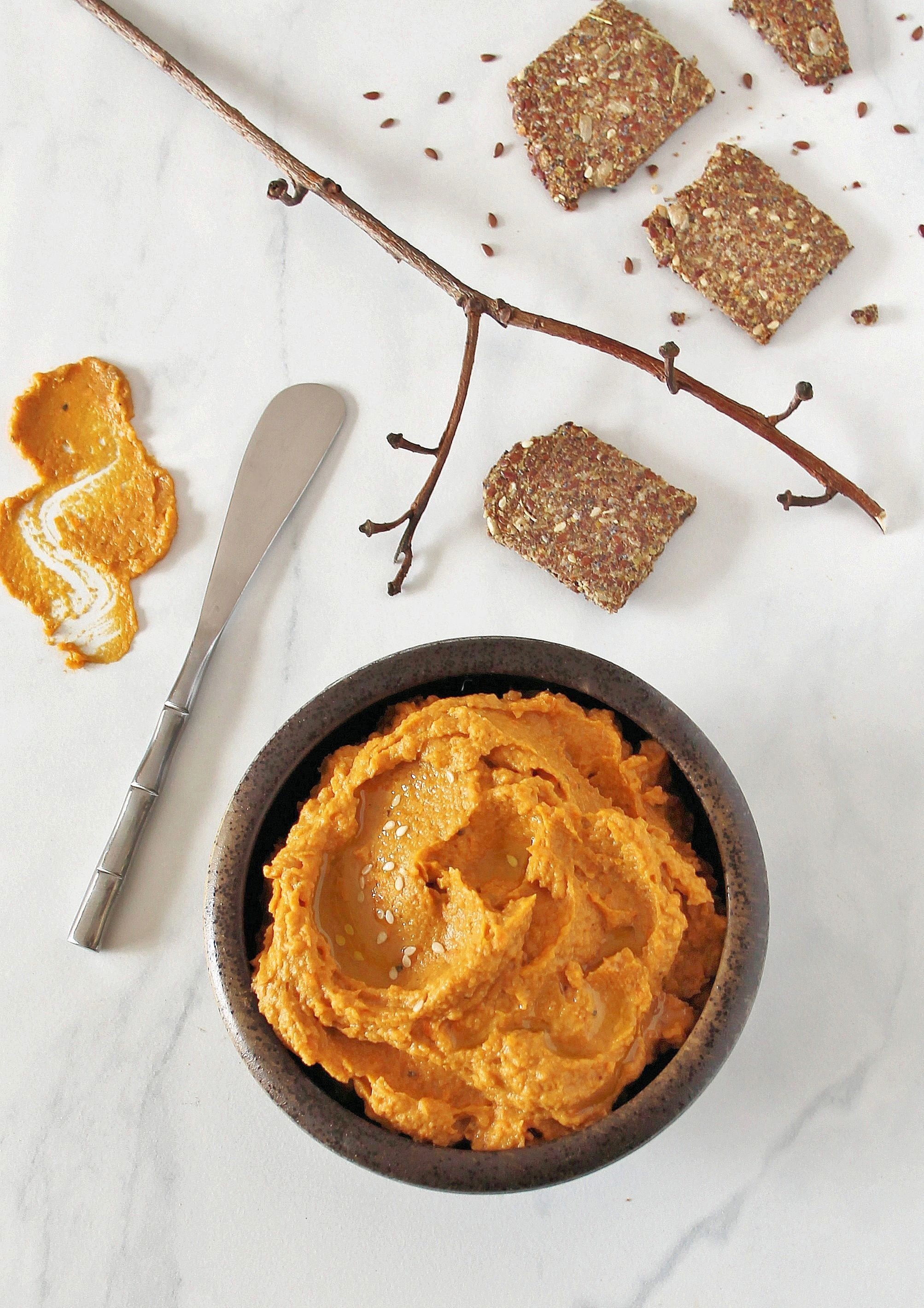 Roasted Sweet Potato & Persimmon Hummus with Almond-Flaxseed Crackers (GF)
