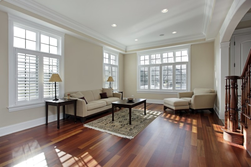 Fine Hardwood Flooring Ideas Example Of A Midsized Trendy Master - living room with wood floors
