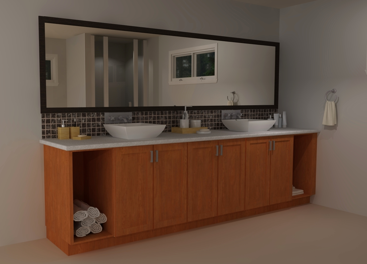 Custom cabinets at both sides can be used for laundry hampers towels etc