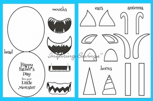 Easy DIY Father\u0027s Day Monster Card - Free Printable Template Included