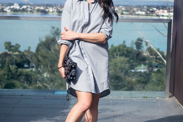 Gratitude, Jenelle Witty Inspiring Wit shirtdress outfit, Perth, fashion blogger, Bohemian Traders shirtdress, Alilia bandanna print shoulder bag, Spektre glasses,