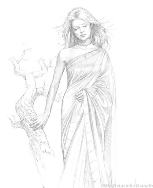 pencil sketch of woman cR1vr 37945