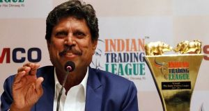 Former cricket captain  of India, Kapil Dev at the launch event of Indian Trading League, by SAMCO Securities at Taj Mahal Hotel Mumbai. Express Photo by Amit Chakravarty. 07.05.2015. Mumbai.