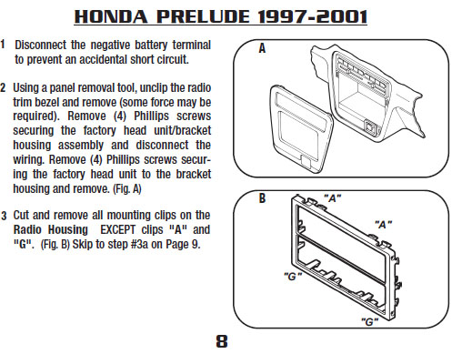 1997 Honda Prelude Installation Parts, harness, wires, kits