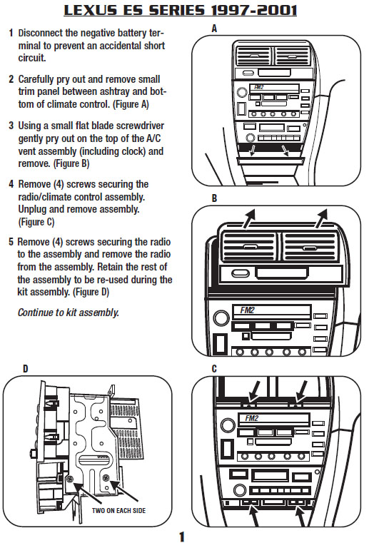 1997 Lexus Es300 Installation Parts, harness, wires, kits, bluetooth
