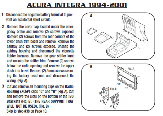 1999 Acura Integra Installation Parts, harness, wires, kits