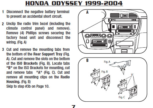 1999 Honda Odyssey Installation Parts, harness, wires, kits