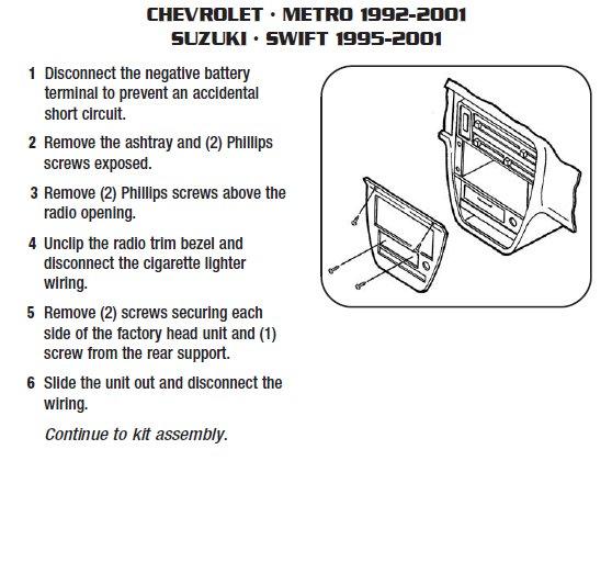 1999 Suzuki Swift Installation Parts, harness, wires, kits