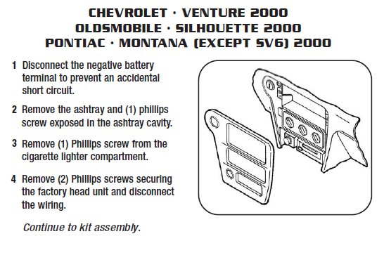 2000 Oldsmobile Silhouette Installation Parts, harness, wires, kits