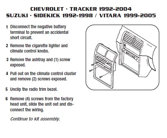 2001 Chevrolet Tracker Installation Parts, harness, wires, kits