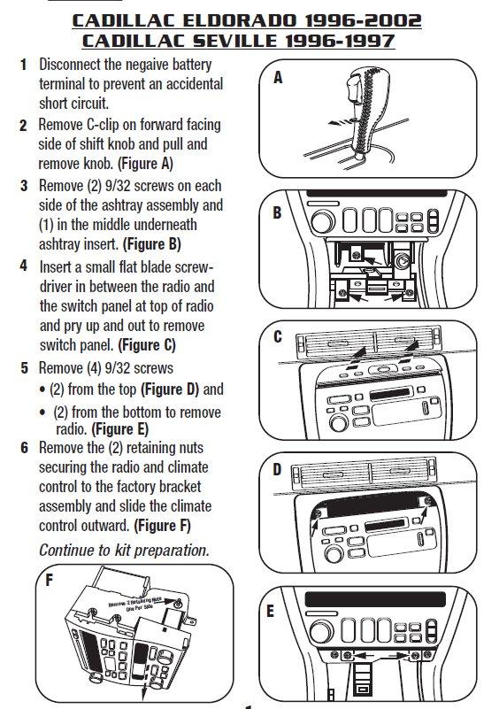 2002 Cadillac Eldorado Installation Parts, harness, wires, kits